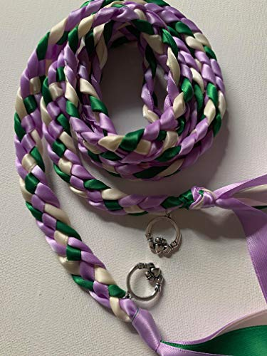 Lavender, Ivory, and Emerald Handfasting Cord with Claddagh- Wedding- Ceremony Braid