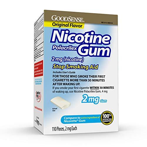GoodSense Nicotine Polacrilex Uncoated Gum 2 mg (Nicotine), Original Flavor, Stop Smoking Aid; Quit Smoking with Nicotine Gum, 110 Count