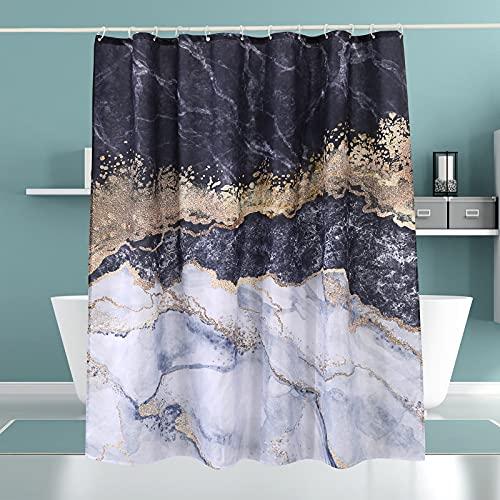 Cortina de ducha de mármol, tela impermeable con ganchos