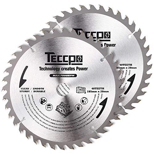 TECCPO 2x Hoja de Sierra Circular 185mmx20mm, TCT, 40 Dientes, Cortar Madera, Compatibles con Todas las Marcas de Sierras Circulares -TACB24A