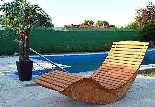 Hilmo - Modell Miami, Poolliege Sonnenliege Schwungliege Saunaliege Gartenliege, 150 cm x 70 cm x 93 cm, Douglasie