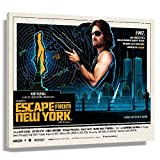 WQINGW Escape From New York Movie Posters for Wall Decoration Painting Canvas for Living Room Rectangle Art for Women Wall Pictures for Bedroom Aesthetic Giclee Prints Modern Artwork for Office (24x36inch(60x90cm),Framed)