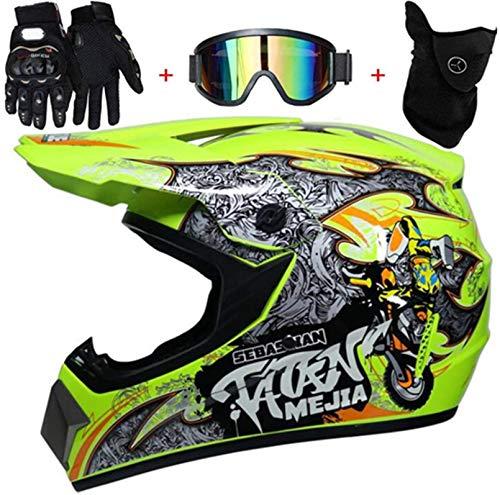 YXLM Motorradhelm, Handschuhe und Brille, Dot, Standard, Kinder, Quad, MTB, Go-Karting, Helm-Set für Erwachsene, Motocross, zertifiziert ECE und DOT (L)