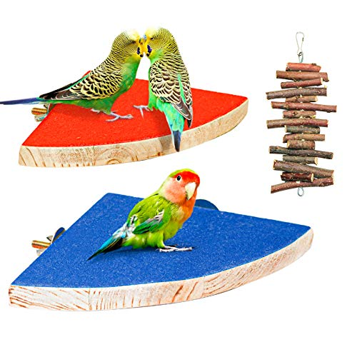S-Mechanic 2 Pack Bird Perch Stand Birdcage Platform Parrot Chewing Toys for Small Medium Lovebird,Finches,Conures,Africa Gray,Budgie Exercise Toy