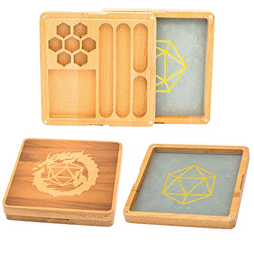 UDIXI 2 in 1 Wooden Dice Case & Dice Tray with Random Set of DND Dice, Dice Holder for DND, D&D, RPG, Tabletop Games