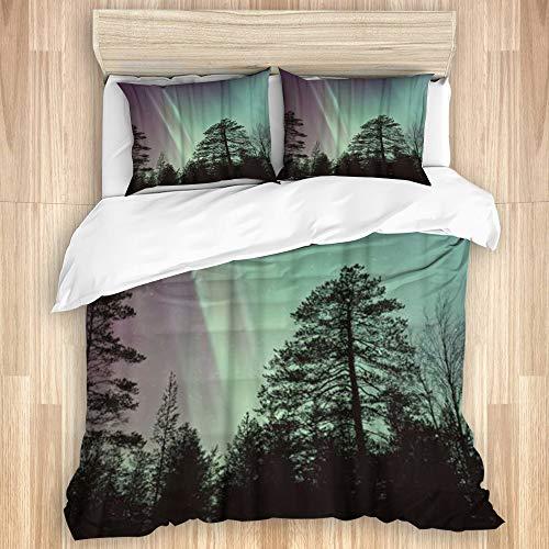 vhg8dweh La Funda nórdica Establece Las sábanas,Sombra de los árboles del Bosque de Auro,Juego de Cama de 3 Piezas con 2 Fundas de Almohada tamaño Extragrande 240x260cm (94x102 Pulgada)