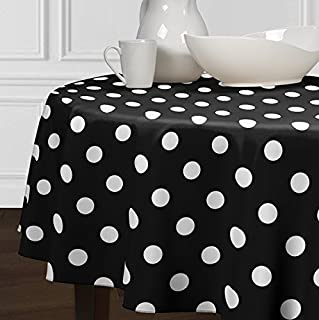 A LuxeHome Black and White Modern Contemporary Large Polka Tablecloths Dining Room Kitchen Round 72