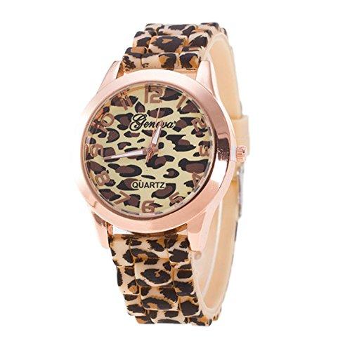 Cinnamou_relojes Mujer de Término análogo Estampado de leopardo Silicona Reloj de pulsera par Mujer Cristal Caja Redonda Tiempo Watches