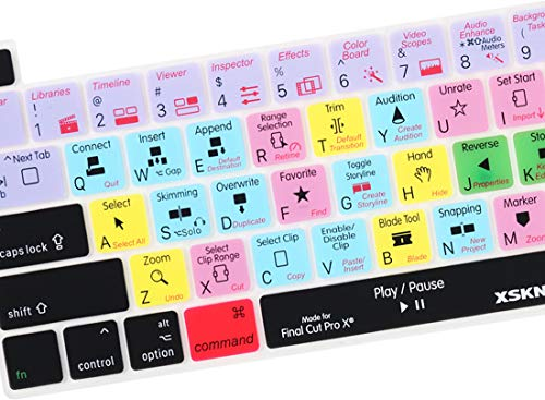 XSKN Final Cut Pro X 10 Englische Silikon-Tastatur-Abdeckung für Touch-Bar-Modelle 2019 MacBook Pro 16 Zoll A2141 2020 MacBook Pro 13,3 Zoll A2251/A2289/A2338 M1 Tastatur US-Version