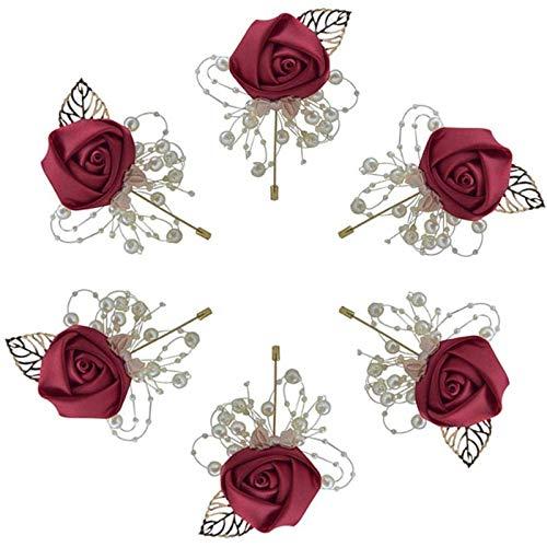 WOVELOT un Conjunto de 6, pa?O, Suministros de Boda, Novio de la Boda y Boutonniere de Flores Artificiales de Novia, Broche, Flor de DecoracióN del Hogar, Flor Artificial, Pin de Solapa