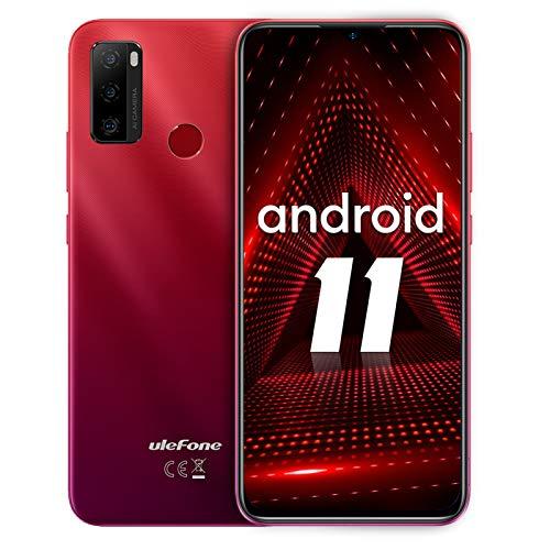 Smartphone ohne vertrag, Ulefone Note 10 Android 11 Handy 6.52-Zoll, 2 GB+32GB, 5500mAh, 8 MP+2 MP+2 MP Kamera, 3-Karten-Steckplatz, OTG, Fingerabdruck, 4G Dual SIM (Rot)