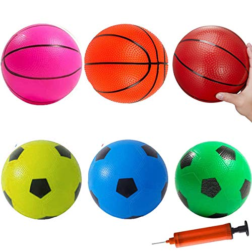 """6"""" Basketballs Kids Rubber Sport Balls Set Dodgeballs Kids Indoor Outdoor Activity Game Soccers Pool Beach Playground Balls Replacement for Score Goal Hoops Toddlers Boys Girls Adults Best Gifts"""