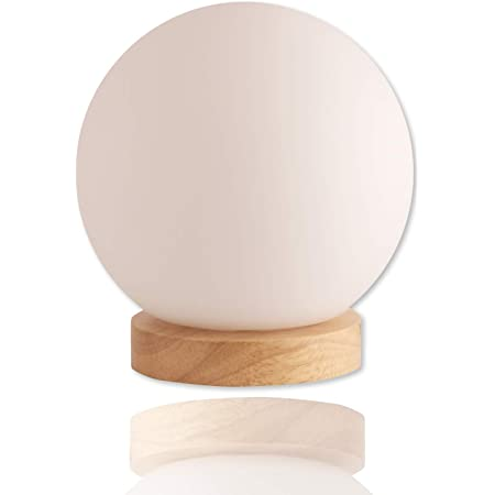 Iris Glass Ball Table Lamp with 6 Watt 550 Lumen 2700K LED Bulb Included- Bedside Lamp - Nightstand Lamp - Small Lamp Natural Wooden Base with Round Glass Shade
