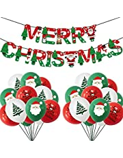 Christmas Balloons Merry Christmas Banner Christmas Party Decorations 20PCS Xmas Santa Elk Latex Red Green Balloons Farmhouse Christmas Decor Outdoor Outside Christmas Decorations Indoor for The Home
