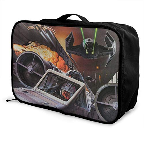 R2 D2 Tie Fighter Travel Lage Duffel Bag Lightweight Suitcase Portable Bags for Women Men Kids Waterproof Large Backpack Capacity