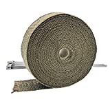 ARTR Titanium Lava Fiber 2 Inch x 50 Feet Exhaust Header Wrap Kit with 10pcs 11.8 Inch Stainless...