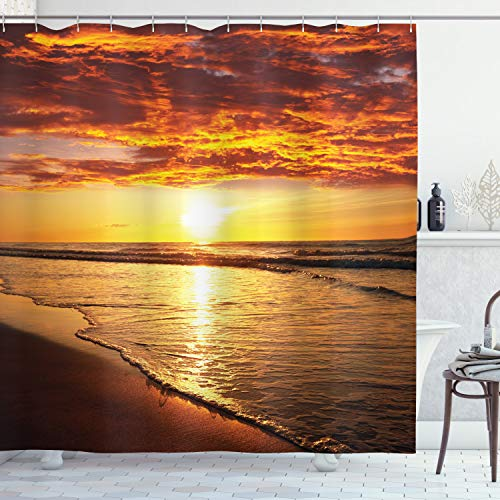 ABAKUHAUS hawaiisch Duschvorhang, Strand Sonnenuntergang Küste, mit 12 Ringe Set Wasserdicht Stielvoll Modern Farbfest & Schimmel Resistent, 175x240 cm, Dunkelorange Orange Gelb