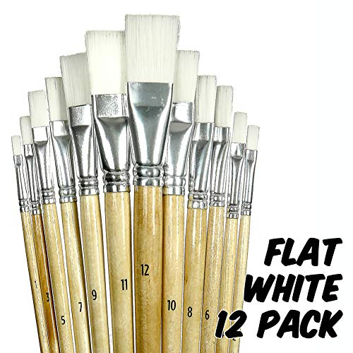 Markin Arts Professional Portrait Landscape Artist Long Birchwood Handle Synthetic Nylon Wool Bristle Acrylic Watercolor Gouache Tempera Oil Canvas Face Body Nail Ceramic Paint Brush Set Flat 12-Pack