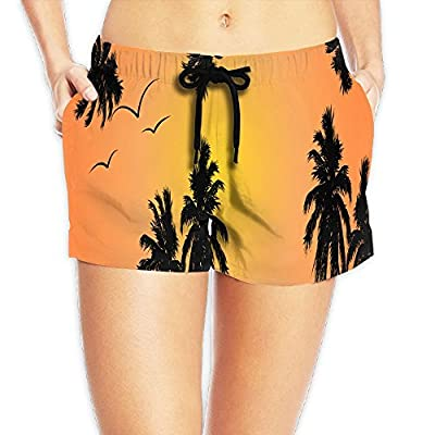 CHI-M Seagull and Tree Women's Swim Trunks Beach Board Shorts Adjustable Swimwear from
