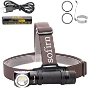 Sofirn Led Headlamp, Rechargeable Super Bright Outdoor Head Lamp Flashlight, CREE XP-L Led 1200 Lumens, Best for Running, Hunting,Camping, Caving, Hiking