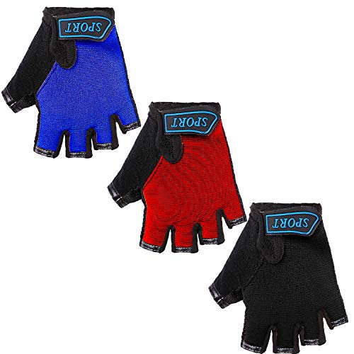Cooraby 3 Pairs Kids Fingerless Gloves Half Finger Cycling Gloves Non-Slip Outdoor Sports Gloves for Cycling Biking Skating, or Other Sports