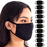 Black Face Mouth Mask - Cotton Face Covering (10 Pack) - Face Mask Resuable, Washable, Breathable, Adjustable - Adult and Child Size