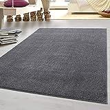 HomebyHome tappeto moderno a pelo corto, economico, tinta unita mélange, per salotto, cam...