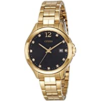 Citizen Quartz Crystal Black Dial Yellow Gold-tone Ladies Watch