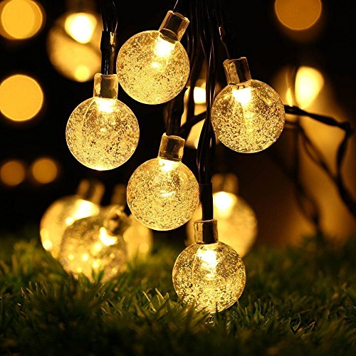 LED Solar Lichterkette außen, GreenClick 7.85 lang Meter 40 LEDs Warmweiß Kugeln Lichterkette, Solarlampe für Garten Party Hochzeiten Bäume Weihnachten Dekoration