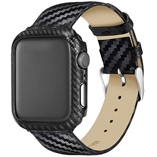 Nero Custodia Protezione Rigida Apple Watch Serie 5 Serie 4 con Cinturino 44mm Pelle,Fibra di Carbonio Cover Apple Watch 5 Protezione Apple Watch 4 Morbida Confortevole per Apple Watch 44mm Serie 5/4