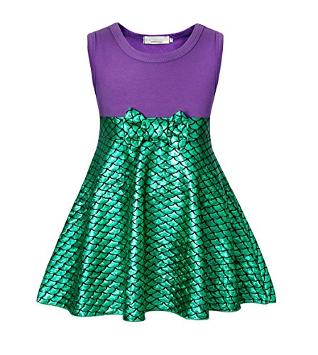 AmzBarley Prinzessin Kleine Meerjungfrau Kostüm Kinder Mädchen Ariel Mermaid Kleid, Grün, 5-6 Jahre