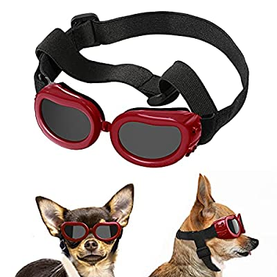 Lewondr Small Dog Sunglasses UV Protection Goggles Eye Wear Protection with Adjustable Strap Waterproof Doggy Sunglasses for Dogs Pet Sun Glasses Doggie Windproof Anti-Fog Glasses, Red