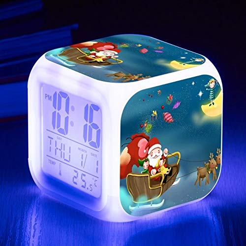 fdgdfgd Reloj Despertador con Fecha LED 3D de Papá Noel con termómetro, Reloj Despertador Digital con luz de Despertador