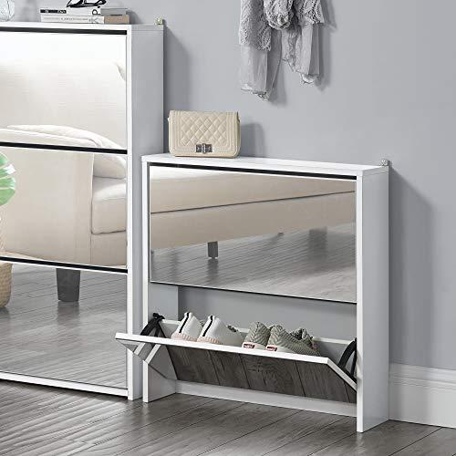 [en.casa] Zapatero con Espejo 67 x 63 x 17cm con 2 Compartimentos de Almacenamiento Mueble Zapatero Organizador de Zapatos Blanco