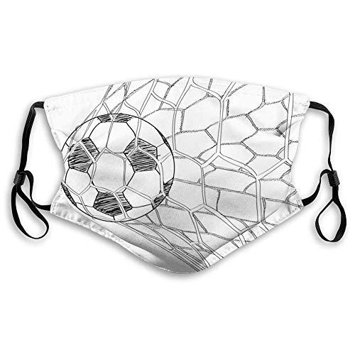 mbesonne Soccer, Fußball in Net Goaly Position Sportwettbewerb Zuschauer Handgezeichneter Stil, Schwarz Weiß Stylish Half Face Scarf für Jungen Mädchen Männer Frauen,20x15cm