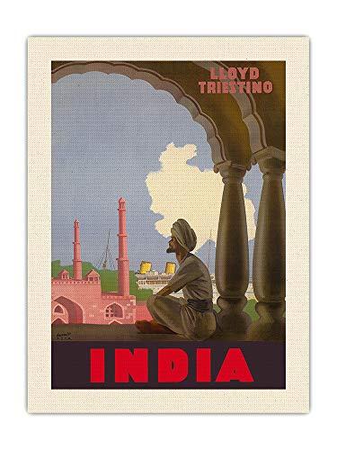 Pacifica Island Art India - Póster de viaje de Triestino Italian Shipping Company de Gino Boccasile c.1940s - Lienzo orgánico RAW de 45,7 x 61 cm