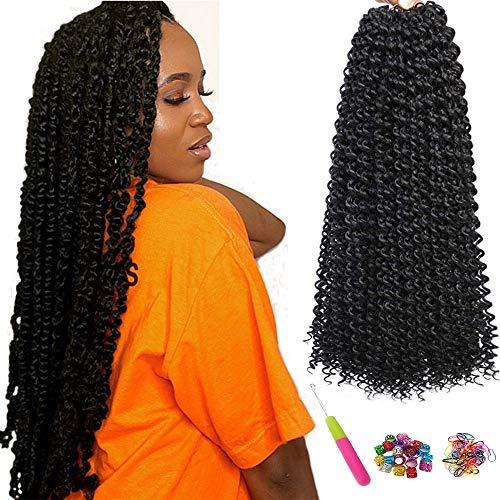 7 Packungen Passion Twist Hair 18 Zoll Crochet Braids für Passion Twist Crochet Hair Wasser Wave ShowJarlly Passion Twist Braiding Haarverlängerungen (18inch(46cm), 1B#)