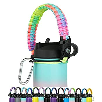 WEREWOLVES Paracord Handle - Fits Wide Mouth Bottles 12oz to 64oz - Durable Carrier Paracord Carrier Strap Cord with Safety Ring,Compass and Carabiner - Ideal Water Bottle Handle Strap  Rainbow