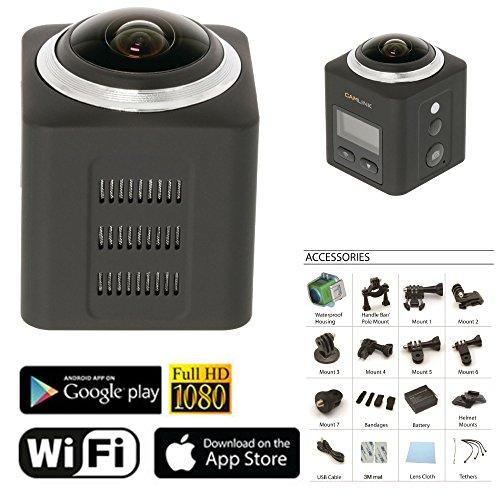 Eurosell 360 ° Grad Profi Panorama VR Video Kamera - Actioncam - WLAN 2K Action Cam wasserdicht + Zubehör Set