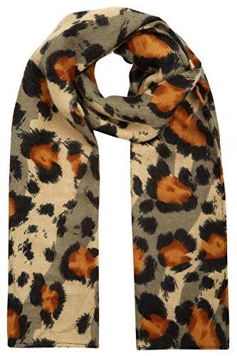 Roman Originals Damen Schal Tier-Print und Metalleffet – jeden Tag lässig Daywear strukturierter Effekt Metallic-Print Leopard schimmernd lang leicht elegant Modeschals - Khaki Tier - Größe ONE