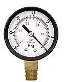 2' Utility Vacuum Pressure Gauge, Water Oil Gas, WOG, 1/4' NPT Lwr Mount, 30HG/0PSI GSAD2012-VUPD, OEM