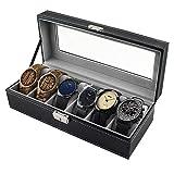 coffret montre homme,Boîte montre en similicuir boîtier de montre montres stockage range montre homme pour 6 porte montres avec clé