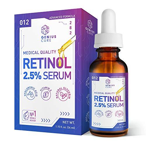 GENIUS Retinol Serum - Anti Wrinkle Anti Aging Facial Serum - Helps Reduce Appearance of Puffiness, Wrinkles, Crows Feet & Fine Lines 1oz