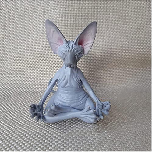 Sphynx Cat Meditate, Meditando y pensando Gato, Gato Buda Meditación Estatua de gato Jardín Escultura al aire libre Decoración, Buddah Sphynx Cat Estatua de meditación