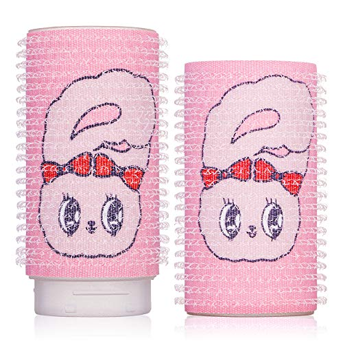 VODANA x EstherLovesYou 2 in 1 Self Grip Hair Rollers, Longer Bang Curlers, Self-Adhesive Hair Volume Styling Tools, Salon Hairdressing, Cute Lovely Adroable Esther Bunny/Pink