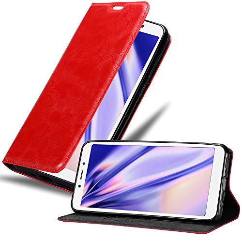 Cadorabo Custodia Libro per Xiaomi RedMi 6A in ROSSO MELA - con Vani di Carte, Funzione Stand e Chiusura Magnetica - Portafoglio Cover Case Wallet Book Etui Protezione