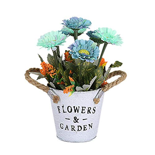 Demarkt kunstplant met retro ijzeren bloempot 27*11cm blauw