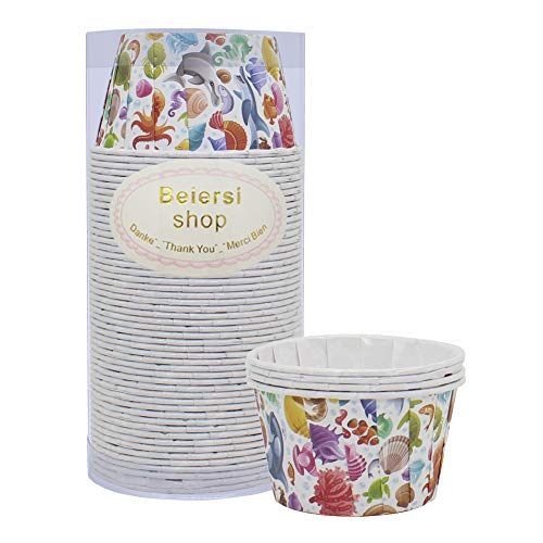 Beiersi Lot de 50 Caissettes Cupcake,Moules de Cuisson en Papier,pour Moule Muffin Moule a Gateau Pâtisserie Décoration