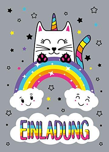 JuNa-Experten 12 Einladungskarten Katze-Einhorn Kindergeburtstag Mädchen Unicorn Geburtstagseinladungen Einladungen Geburtstags-Party Kartenset