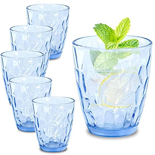CREATIVELAND Glass Tumbler Light Blue Set of 6, for...
